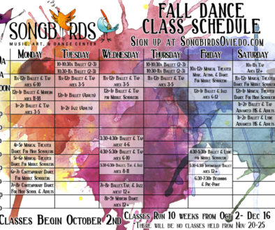 calendar for fall dance schedule