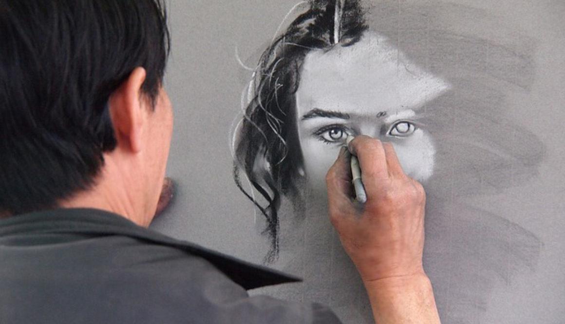 older man drawing a woman