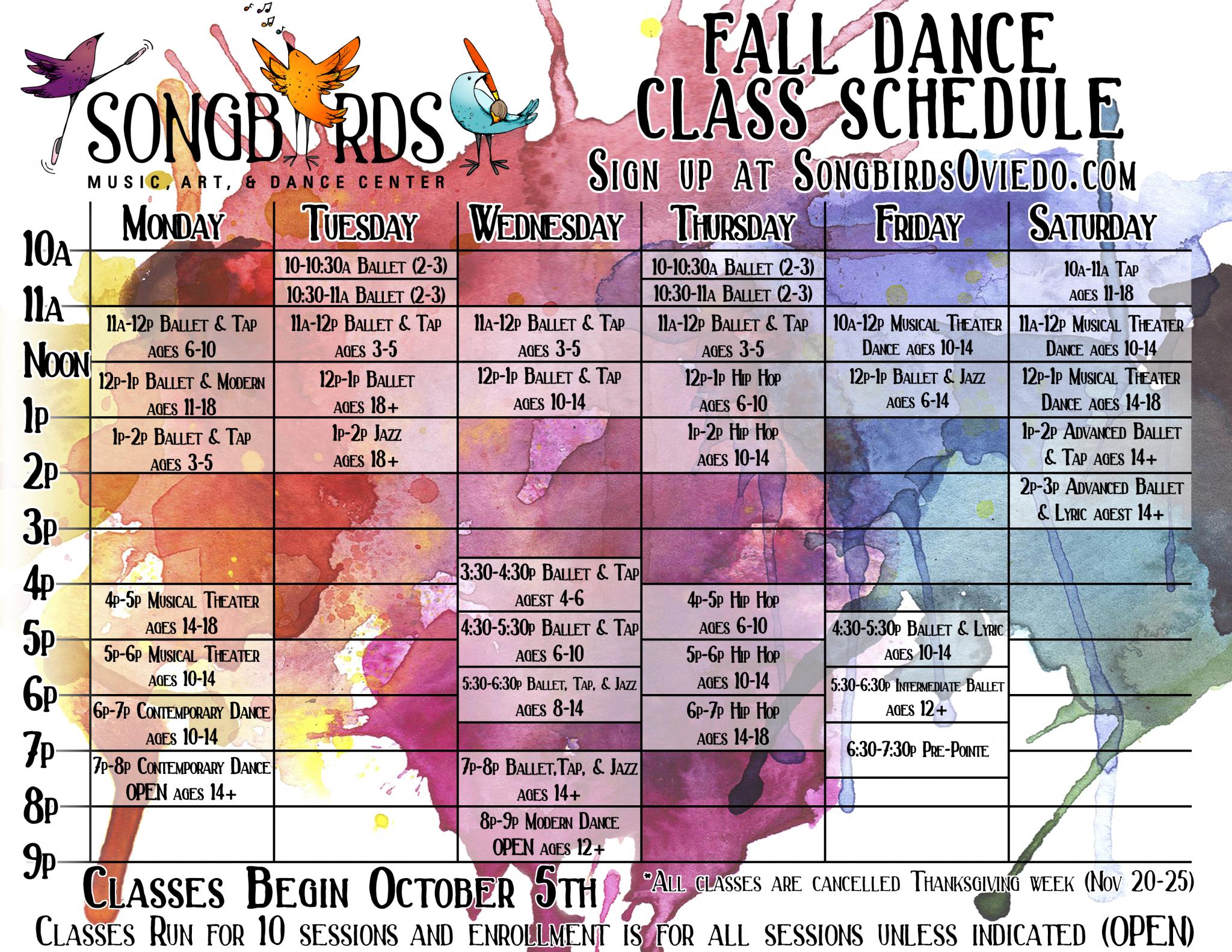 calendar of fall dance schedule