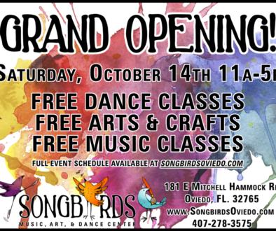 grand opening for songbirds music, art, & dance center