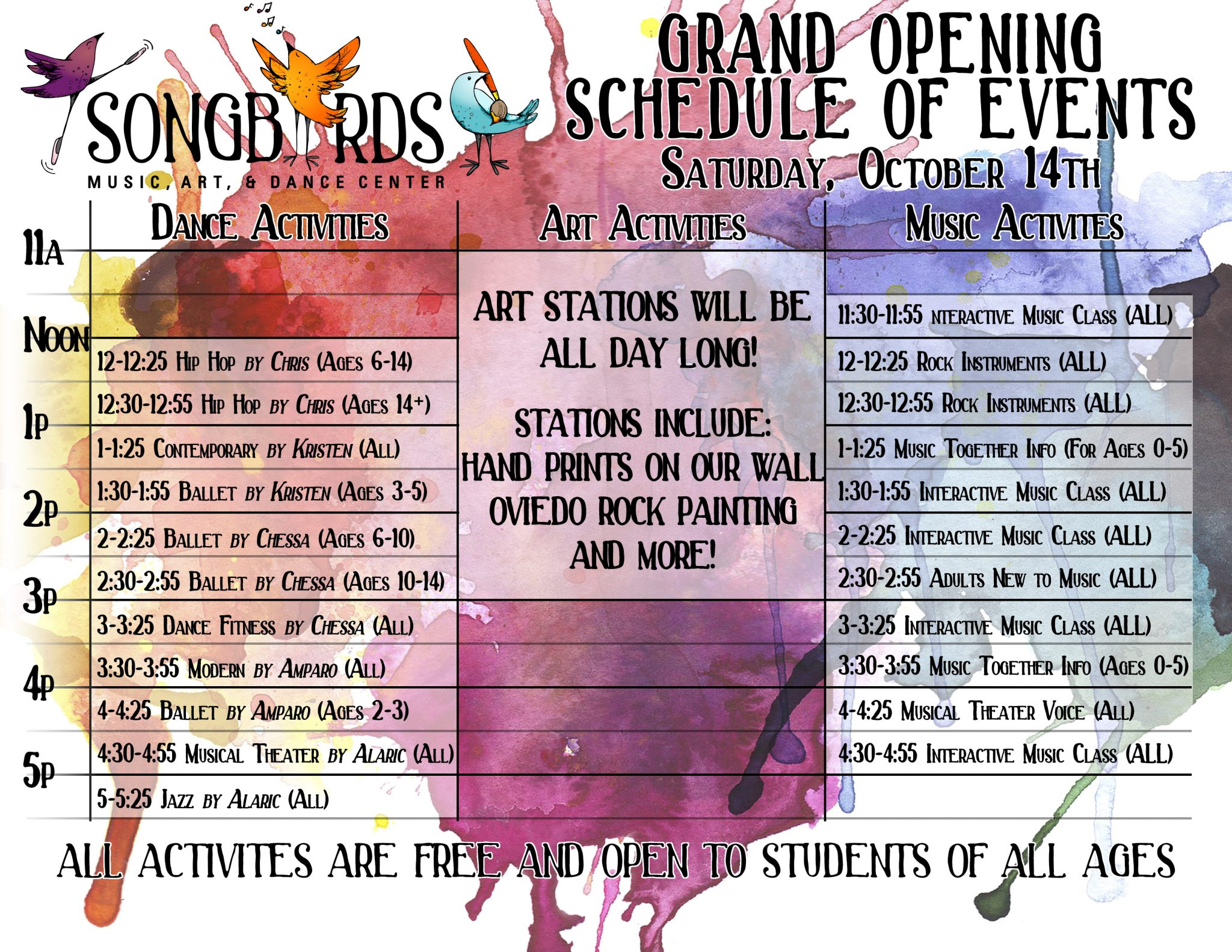 grand opening schedule for songbirds music, art, & dance center
