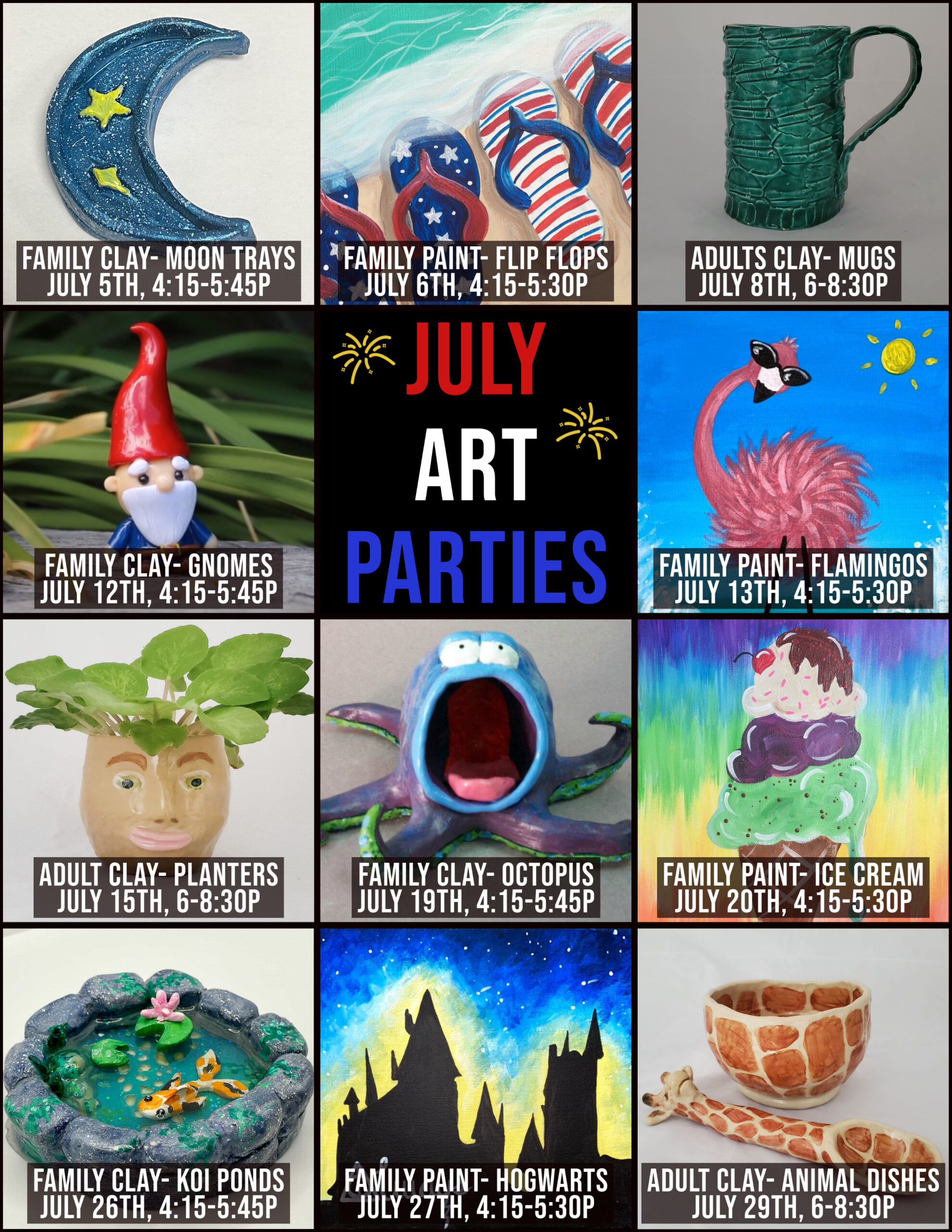 July Paint_ Clay Parties